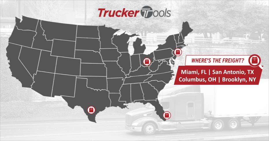 Where's the Freight? Miami, San Antonio, Columbus and Brooklyn Dry Van Markets, Portland Reefer Market Expected To Be Most Profitable for Truckers, Carriers in Coming Week